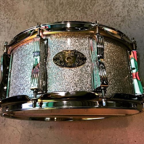 "Ludwig Classic Maple 100th badge snare 14""x 6,5"" silver sparkle"