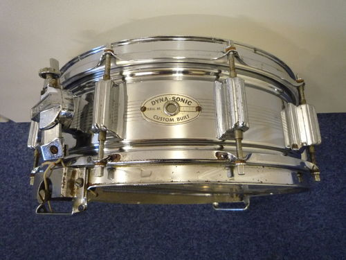 "1964 Rogers Dynasonic Chrome Over Brass ""7 Line"" Snare Drum, 14"" x 5"""
