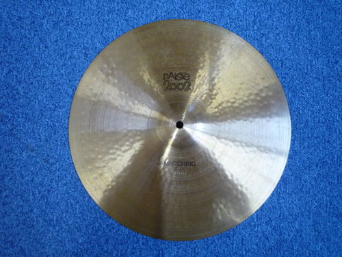 "16"" Paiste 2002 Marching cymbal, Black logo, from 1978"