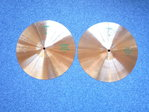 "14"" Paiste 505 Medium Hi-Hat green logo pre-serial, 979 and 712 grams"