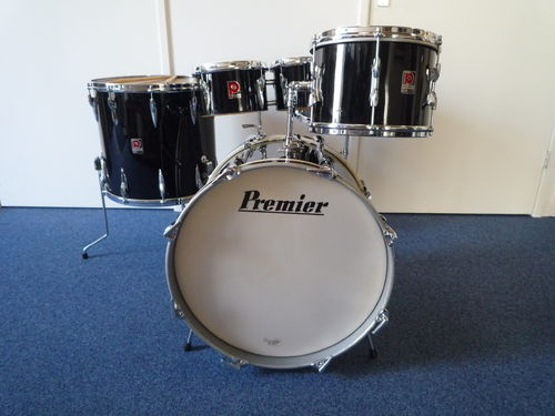 "1960's Premier 202 Drumset 20""-12""-16"" +  Royal Ace 14"" x 5,5"", piano black"