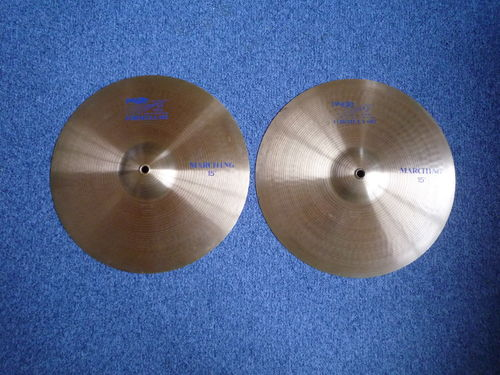 "15"" Paiste 602 Marching blue logo, 1149 - 1135 grams, from 1985"