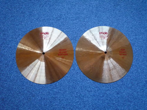 "13"" Paiste 2002 Heavy Hi-Hat red logo, 872-835 grams from 1981"
