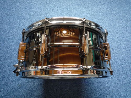 Ludwig Black Beauty LB417 Brass Shell snare, 100th Badge from 2009