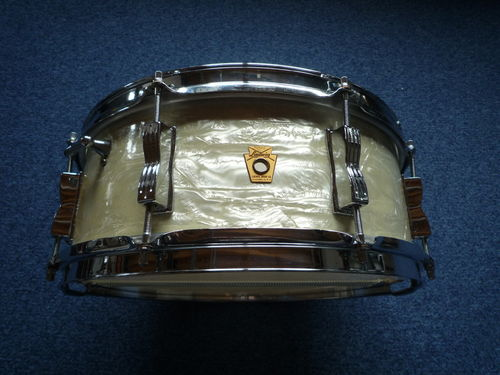 "1964 Ludwig ""Jazz Festival"" snare drum 14"" x 5"", white marine pearl"