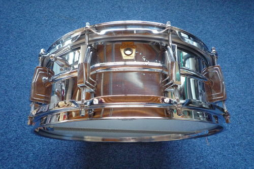 "1960-62 Ludwig L400 Supraphonic 14"" x 5""  snare drum, pre-serial keystone"