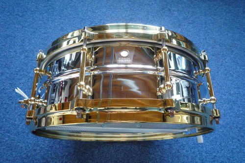 "Ludwig Chrome-Over-Brass LB400BBTWM snare drum 14"" x 5"""