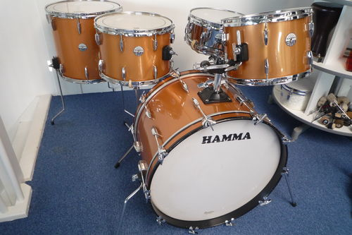 "1976 Hamma Rosetti-EMI (Premier) drum kit copper finish, 22""-13""-14""-16""-snare"