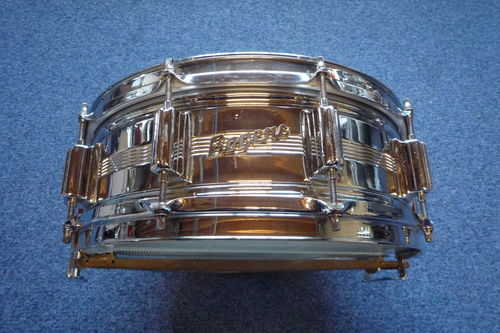 "1968 Rogers Dynasonic Chrome Over Brass Snare Drum, 14"" x 5"""