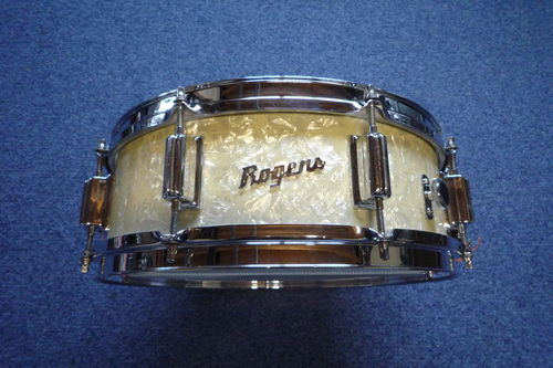 "Rogers Powertone wood snare drum 14"" x 5"" Dayton era, wmp"
