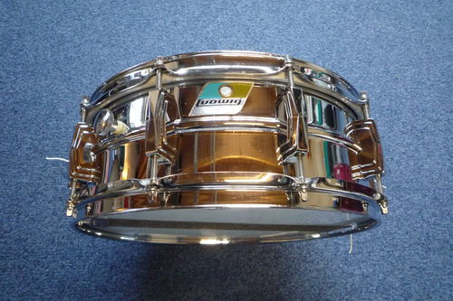 "1979 Ludwig L400 Supraphonic 14"" x 5""  snare drum, blue olive"