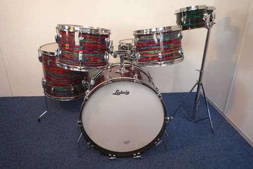 "1968 Ludwig Hollywood drumkit Psychedelic Red, 22""-12""-13""-16"""