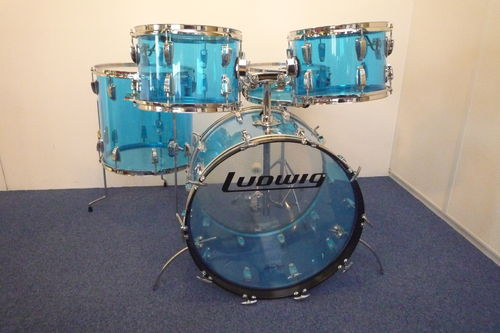 "1978 Ludwig Blue Vistalite Big Beat 22""-12""-13""-14""- snare 14"" x 5"""