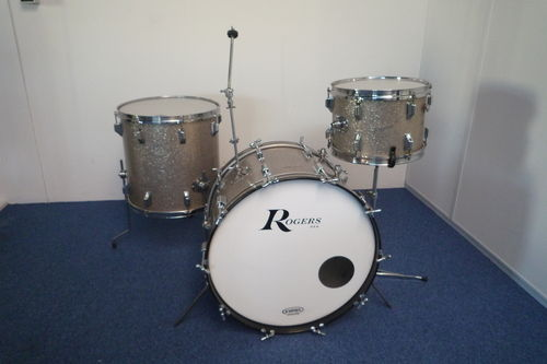 "1960's Rogers Holiday drumset 22""-13""-16"", Cleveland era, silver sparkle"