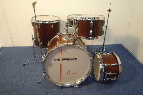 "Sonor Swinger Rosewood finish drum set 20""-12""-13""-16"" - snare from 1970's"