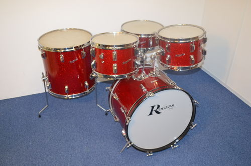 "1964 Rogers Holiday drumkit 20""-12""-12""-16"" + Powertone snare, Cleveland era, Red Sparkle Pearl"