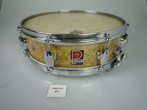 "Premier Royal Ace Piccolo Snare Drum 14"" x 4"", Gold Sparkle from 1960's"