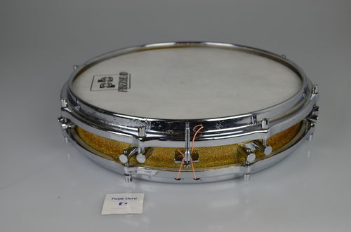 "1960's Sonor Pancake Snare Drum D472, 14"" x 2,5"" wood shell gold sparkle"
