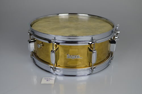 "Rogers 6532R snare drum 14"" x 5"" from 1961, brass lacquer finish, made in England"