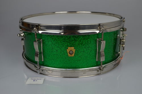 "1965 Ludwig Pioneer 5"" x 14"" Green Sparkle 3-ply shell, RARE!"