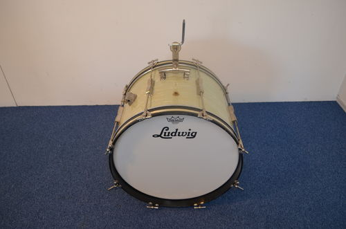 "1965 Ludwig Club Date 20"" x 14"" Bass Drum, white marine pearl finish"