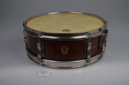 "1958-59 Ludwig Pioneer snare drum 14"" x 5"", transition badge, mahogany finish"