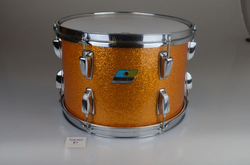 "Ludwig Tom 13"" x 9"" Gold Sparkle 3-ply shell, clear interior from 1971"