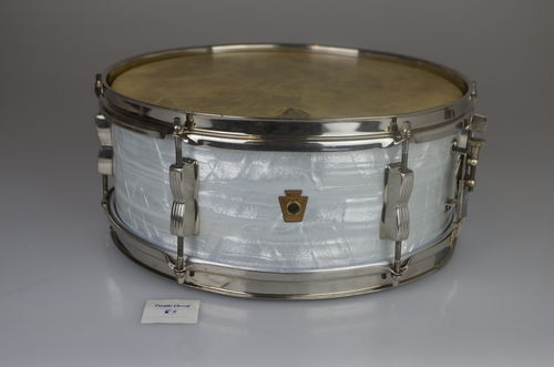 "WFL Ludwig Pioneer snare drum 14"" x 5"" white marine pearl from 1950's"