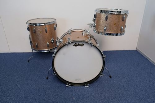 "1964 Ludwig DownBeat drumset 20""-12""-14"", Champagne Sparkle"