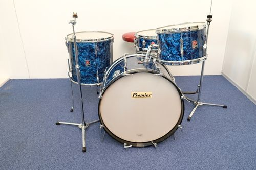 "Premier 101 Outfit Blue Pearl 20""-12""-14""- Piccolo Ace snare from late 1960's"