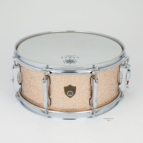 "Sakae Trilogy snare drum 14"" x 6,5"" Champagne Sparkle, made in Japan, as new"