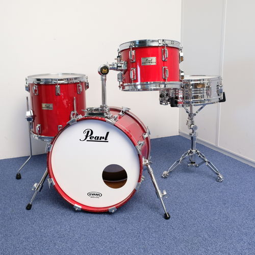 "Pearl BOP Drumkit DLX Professional series 18""-12""-14"", flame red lacquered shells middle 1980's"