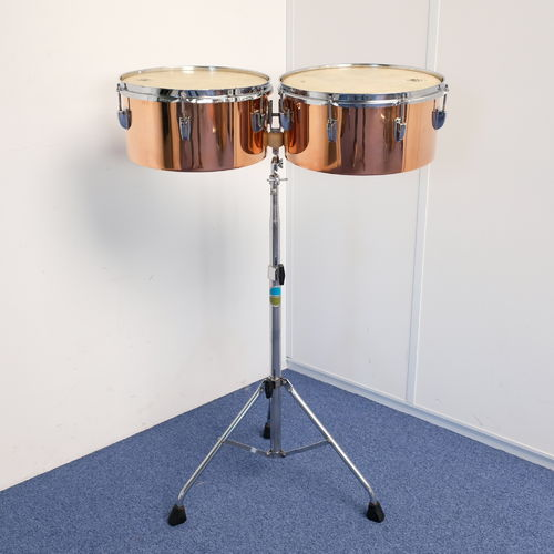 "1964 Ludwig Copper Timbales 13"" and 14"", with 1970's Ludwig stand"