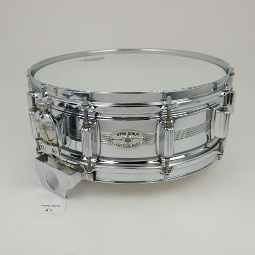 "1974 Rogers Dynasonic COB 14"" x 5"", Chrome Over Brass snare drum, script logo"